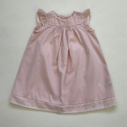 Bonpoint Pale Pink Cotton Dress With Broderie Anglaise Trim