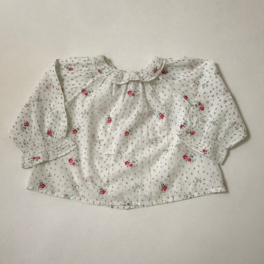 Bonpoint Floral Print Blouse With Ruffled Collar: 18 Months