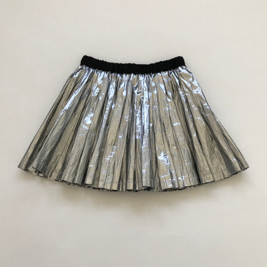 Bonpoint Metallic Silver Pleated Skirt