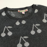 Bonpoint Grey Cotton Mix Jumper With Silver Cherry Print