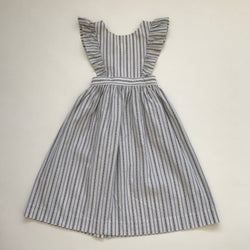 Bonpoint Blue And White Stripe Dress With Crossover back