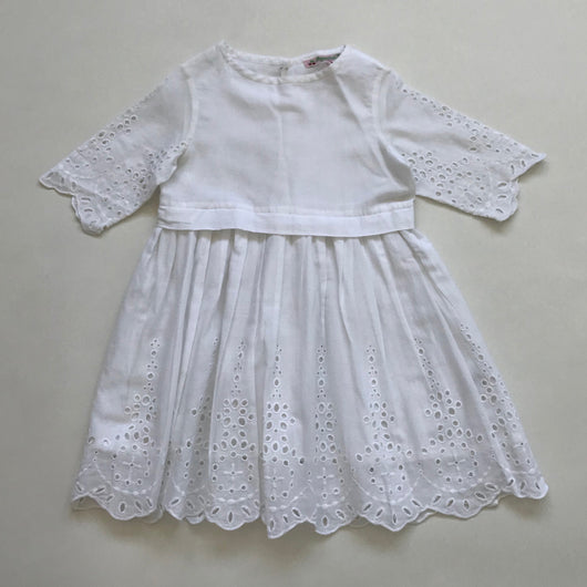 Bonpoint White Cotton Broderie Anglaise Dress: 3 Years