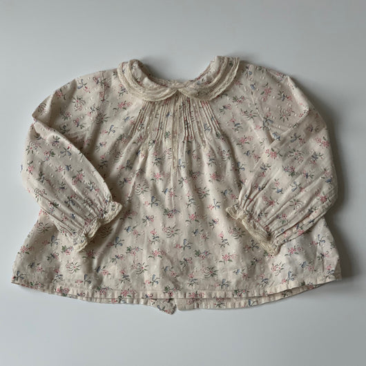 Bonpoint Floral Print Blouse With Lace Trim Collar: 18 Months
