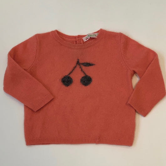 Bonpoint Apricot Cashmere Jumper With Cherry Motif: 12 Months