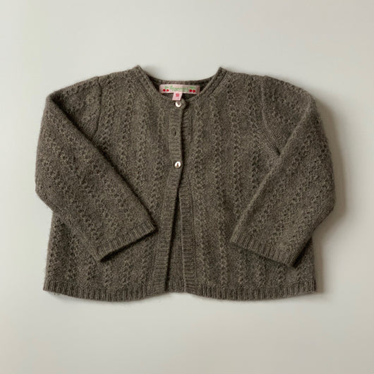Bonpoint Mushroom Cashmere Cable Knit Cardigan: 18 Months