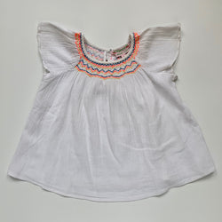 Bonpoint Gauzy Cotton Summer Top With Rainbow Trim: 4 Years