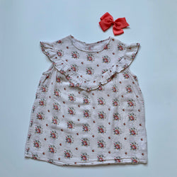 Bonpoint Floral Print Sleeveless Top With Frill: 8 Years