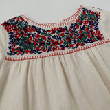 Bonpoint Cream Dress With Red, Blue And Green Embroidery: 6 Years