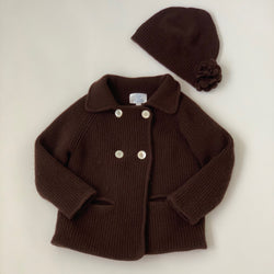 Baby CZ Chocolate Brown Double Face Cashmere Cardigan With Hat: 4 Years