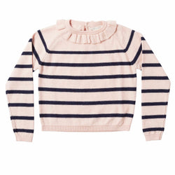 Marie-Chantal Pink And Navy Stripe Jumper With Frill: 10 Years