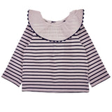 Jacadi Navy And White Stripe Top With Scalloped Collar: 18 Months (Brand New)