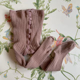 Bonpoint Dusty Pink Ribbed Tights (0-6M)