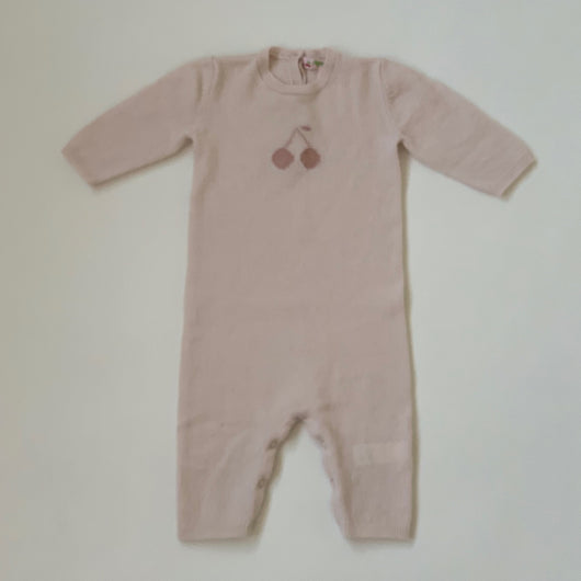 Bonpoint Pale Pink Cashmere All-In-One With Cherry Motif: 6 Months