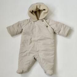 Bonpoint Pale Taupe Snowsuit With Faux Sheepskin Lining: 6 Months