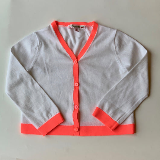 Bonpoint White Cotton Cardigan With Neon Trim: 2 Years
