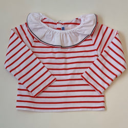 Jacadi Red And Stripe Top With Collar : 24 Months
