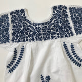 Apolina Kids White Cotton Peasant Dress With Embroidery
