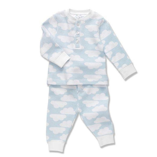 Marie-Chantal Blue Waffle Cloud Print Set