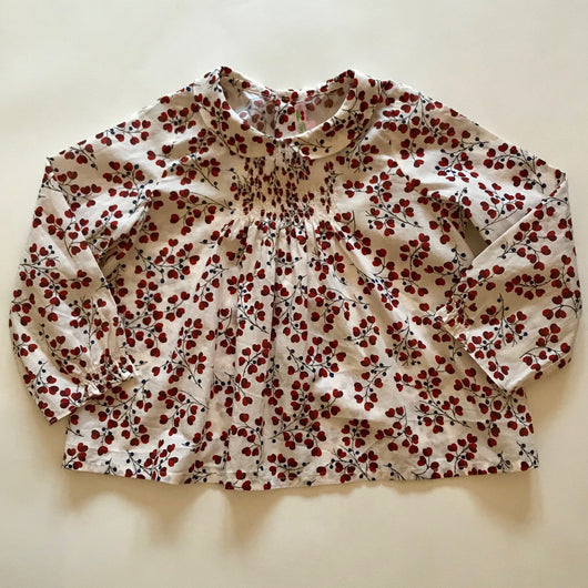 Bonpoint Smocked Cream Blouse With Maroon Floral Print