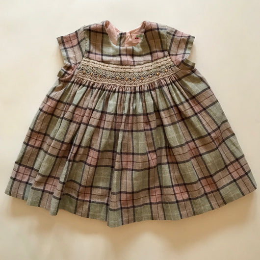 Bonpoint Wool Tartan Smocked Dress With Crystal Embellishment
