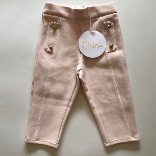 Chloé Pale Pink Leggings With Gold Buttons