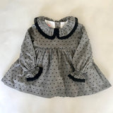 La Coqueta Grey And Black Polka Dot Dress With Frill Collar And Matching Knickers