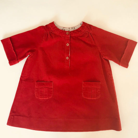 Bonpoint Red Fine Cord Dress With Patch Pockets: 18 Months
