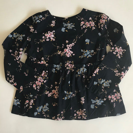 Bonpoint Black Floral Blouse With Gathered Waist: 3 years