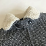 Bonpoint Black And White Tweed Wool Coat With Removable Shearling Collar