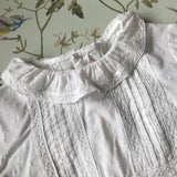 Bonpoint White Cotton Pintuck Blouse With Lace Trimmed Collar