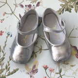 Rachel Riley Silver Patent Mary-Jane Baby Ballet Shoes