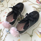 Minna Parikka Black Bunny Ears Leather Trainers With Pink Pom Poms