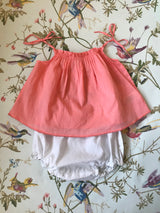 Caramel Apricot Cotton Summer Blouse With Ties
