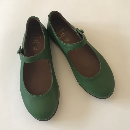Caramel Green Leather Mary-Jane Shoes