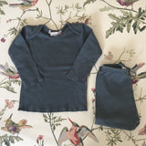 Bonpoint Teal/ Grey Cotton Top And Leggings Set