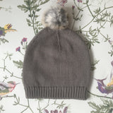 Bonpoint Taupe Cashmere Hat With Fur Bobble