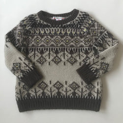 Bonpoint Alpaca/ Wool Mix Nordic Style Intarsia Chunky Knit Jumper: 4 Years