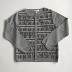 Marie-Chantal Intarsia Snowflake Print Grey Wool Cardigan