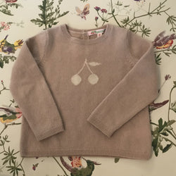 Bonpoint Dusty Pink Cashmere Cherry Motif Jumper