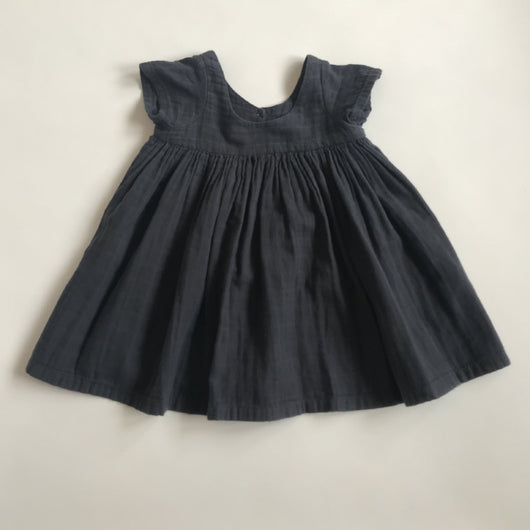 Bonton Dark Grey Crinkled Cotton Short Sleeve Dress