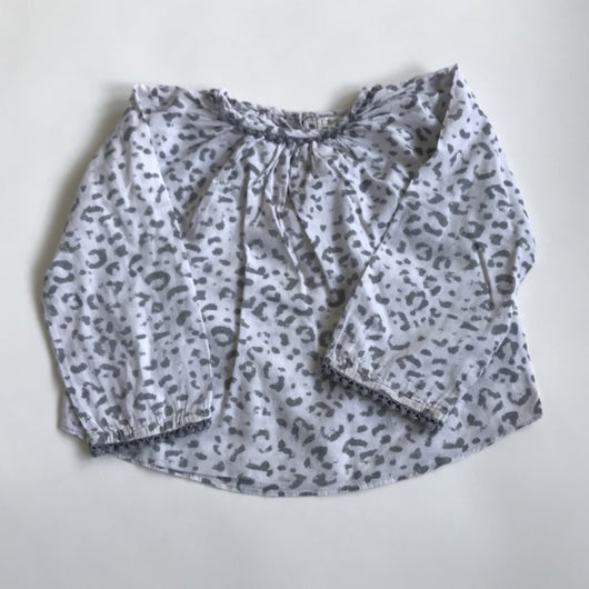 Louis Louise Grey Leopard Print Cotton Blouse