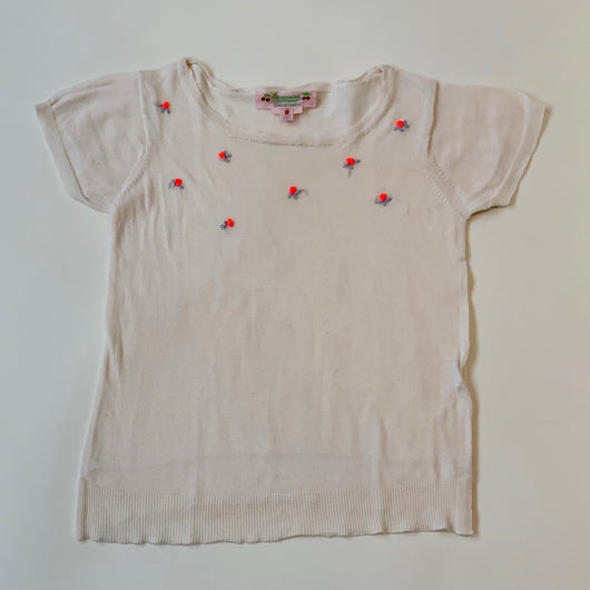 Bonpoint Short Sleeve T-Shirt With Roses: 8 Years