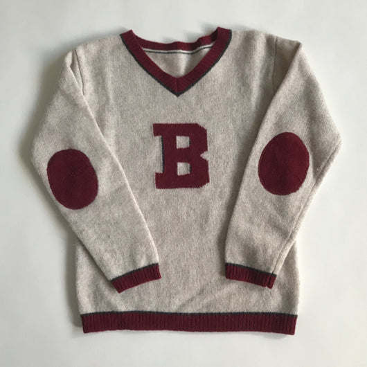 Bonpoint Merino Wool Oatmeal Varsity Style Jumper With Maroon Trim
