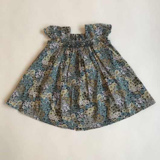 Bonpoint Green And Blue Toned Liberty Print Hand Smocked Sundress