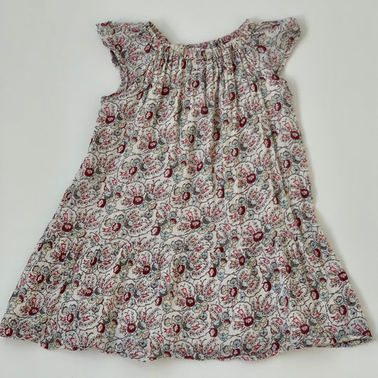 Bonpoint Gauzy Print Dress With Flutter Sleeves: 6 Years