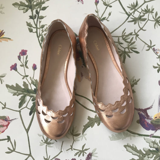 Chloé Rose Gold Ballet Pumps With Scalloped Trim