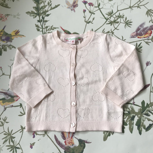 Bonpoint Pale Pink Heart Embossed Cotton Cardigan