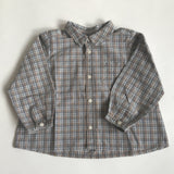 Bonpoint Taupe Check Shirt With Collar And Cherry Motif