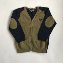 Bonpoint 100% Merino Wool Mustard Green And Navy Cardigan: 6 Years