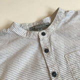 Bonpoint Cotton Stripe Collarless Shirt